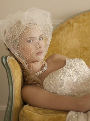 2-Layer White Bridal Birdcage Veil with French Netting and Row of Tulle