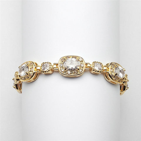 "Exclusive 6 1/2"" Designer CZ Bridal or Special Occasion Bracelet with 14K Gold Plating"