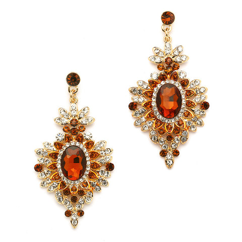 Retro Glam Smoked Topaz Gold Earrings