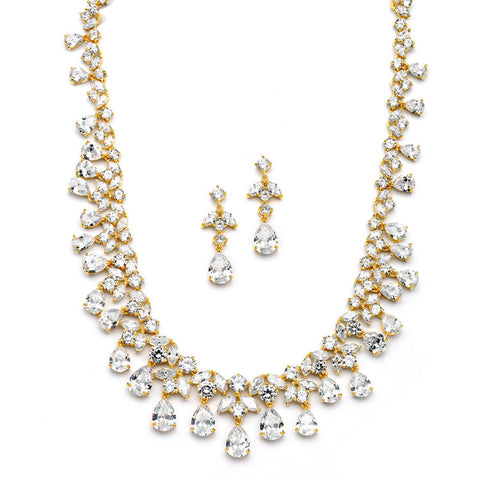 Spectacular Cubic Zirconia Gold Statement Necklace Set