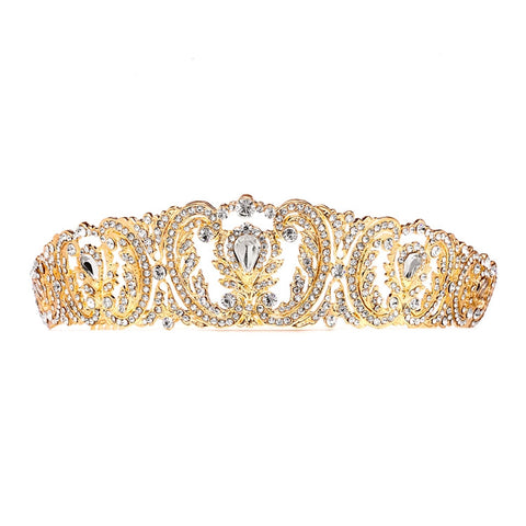 Retro Chic Vintage Wedding Tiara with Pave Crystals (Available in Gold or Silver!)