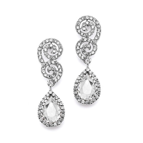 Best Selling Crystal Scroll Wedding or Prom Earrings with Crystal Teardrop