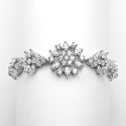Top-Selling Marquis Cluster Wedding or Pageant Bracelet 6 7/8""