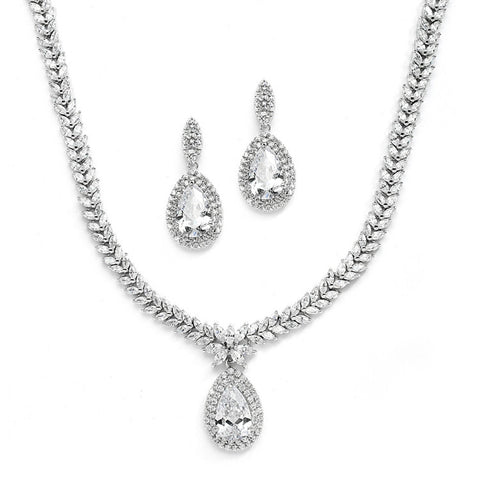 Regal CZ Bridal Necklace and Earrings Set with Marquise & Pear Shaped Drop