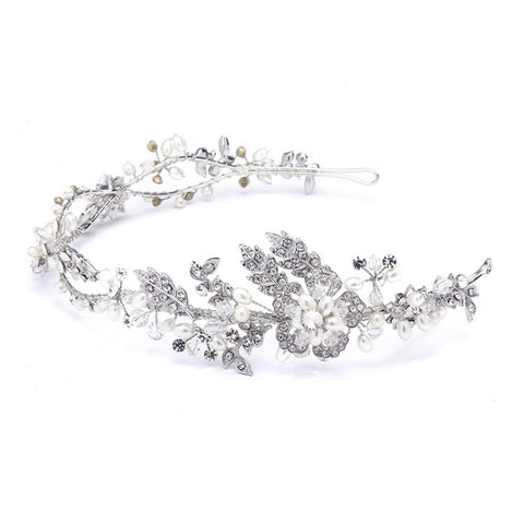 Wavy Bridal Headband with Crystal and Pearl Garden
