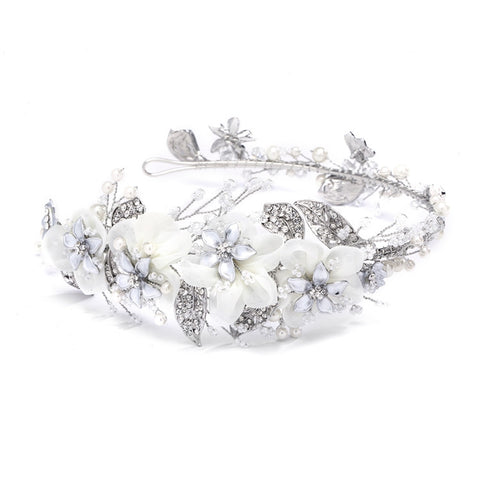 Enchanting Side Design Bridal Tiara Headband with Organza