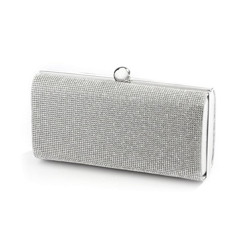 Micropave Crystal Bridal Clutch Evening Bag in Silver