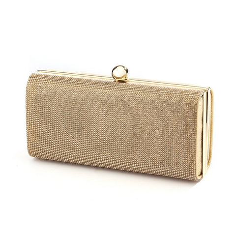 Micropave Crystal Bridal Clutch Evening Bag in Gold