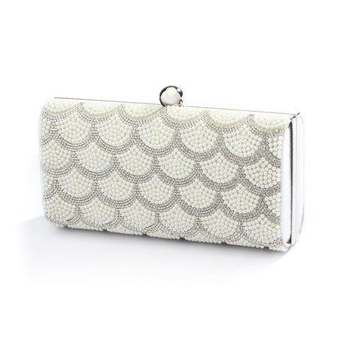 Scalloped Crystal and White Pearl Bridal Evening Bag or Wedding Clutch