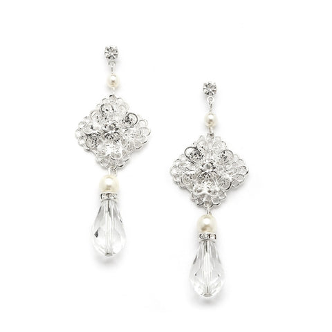 Best Selling Filigree Bridal Teardrop Earrings with Pearl and Crystal Dangles