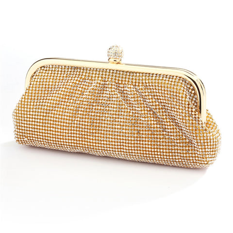Top Selling Two-Sided Crystal Clutch Evening Bag with Vintage Gold Frame