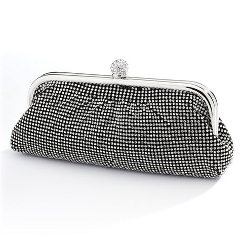 Top Selling Double-Sided Crystal Clutch Evening Bag with Black Satin