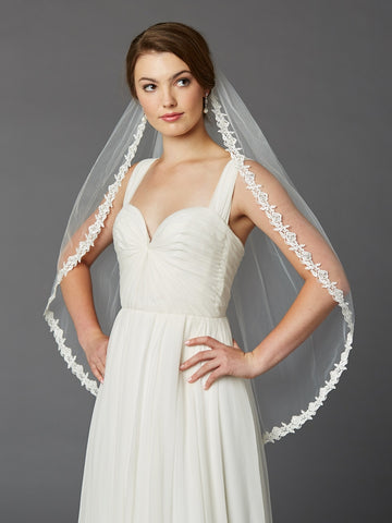 Single Layer Fingertip Lace Edge Mantilla Wedding Veil with Beads & Sequins