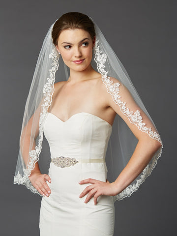 Scalloped Lace Edge Fingertip Mantilla Veil with Crystal & Beads