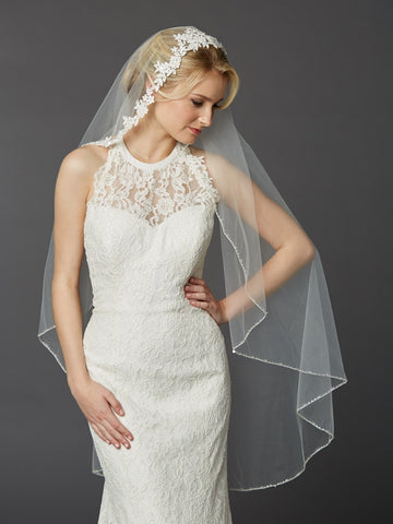 Semi-Waltz Ballet Length One Tier Bridal Veil w/Beaded Lace Top