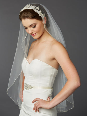 Fingertip Bridal Veil with Embroidered Silver Lace Applique Headpiece