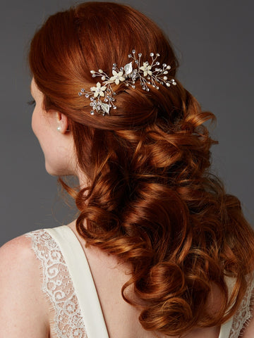 Bridal Hair Comb with Hand Painted Leaves, Freshwater Pearls & Crystals Sprays