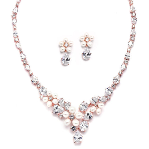Ravishing Rose Gold Freshwater Pearl and CZ Statement Necklace and Earrings Set
