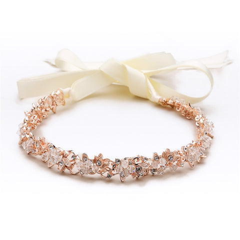 Slender Rose Gold Bridal Headband with Hand-wired Crystal Clusters and Ivory Ribbons