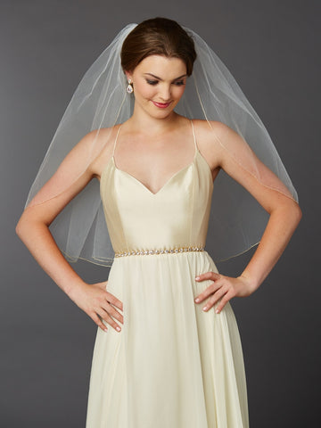 Gold Pencil Edge Classic Waist or Elbow Single Layer Wedding Veil