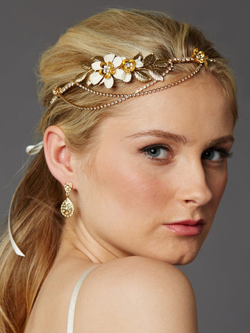 Hand-Enameled Floral Headband Crown with Preciosa Crystal Drapes (Available in Gold or Silver)