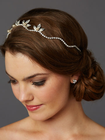 Hand-made Wavy Bridal Tiara Crown with Leaves and Pearls