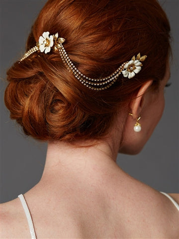 Triple Combs Enamel Bridal Headpiece with Crystal Swags (Gold Ivory)