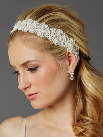 Fine European Lace Scalloped Bridal Heaband with Baby Pearls