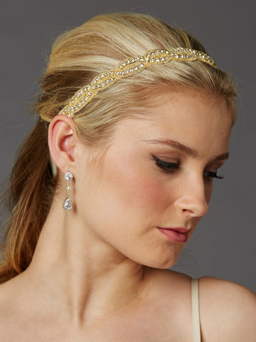 Braided Bridal Headband with Golden Seed Beads and Crystal Rhinestones