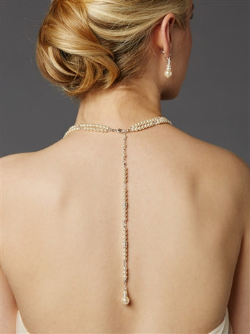 2-Row Glass Pearl Bridal Back Necklace with Dramatic Backdrop