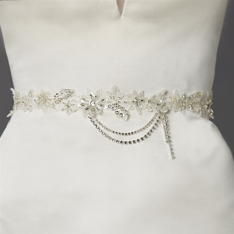 Floral Bridal Sash with Beaded European Wedding Lace