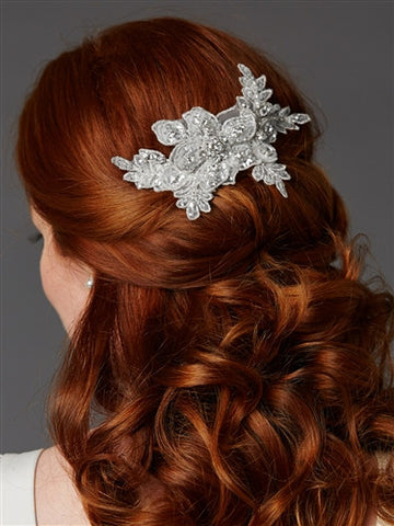Sculptured European White Lace Bridal Comb with Crystals and Sequins