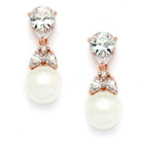 Top-Selling Gold CZ Bridal Earrings with Pears and Pearl Drops