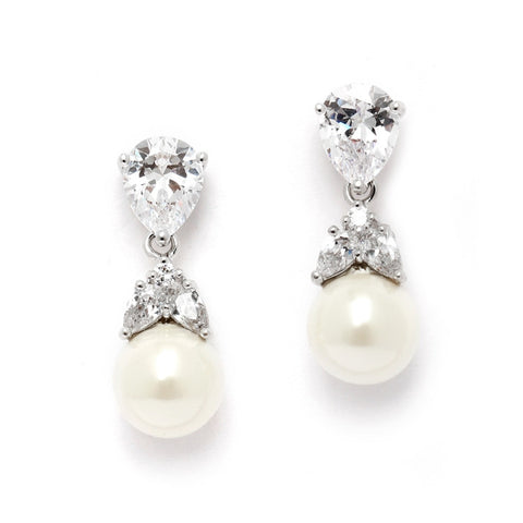 Top-Selling CZ Bridal Clip Earrings with Mixed Pears and Pearl Drops (Available in 14KT Gold)
