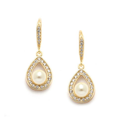 Best-Selling Pave CZ Bridal Earrings with 5mm Pearls