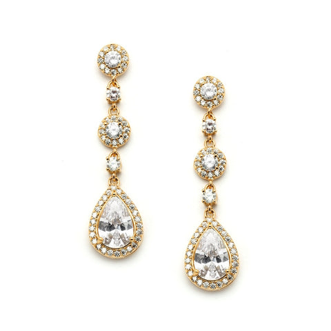 Top-Selling Pear-shaped Gold Wedding Earrings with Micro-Pave CZ (Also available in Silver)