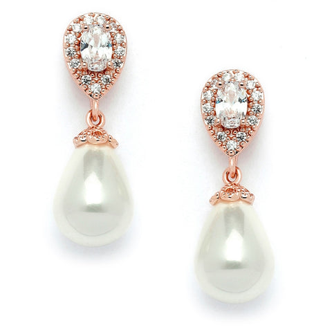 CZ Pear Bridal Earrings with Bold Soft Cream Pearl Drops