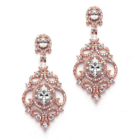 Victorian Scrolls 14K Rose Gold Plated Cubic Zirconia Wedding Chandelier Earrings