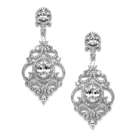 Victorian Scrolls Silver Platinum Plated Cubic Zirconia Wedding Chandelier Earrings