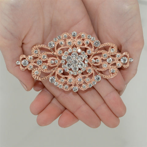 Rose Gold Vintage Art Deco Bridal Brooch