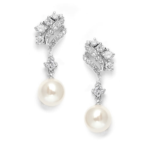 Cubic Zirconia Waves Wedding Earrings with Cream Pearls