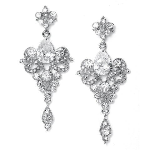 Art Nouveau Cubic Zirconia Bridal or Prom Earrings