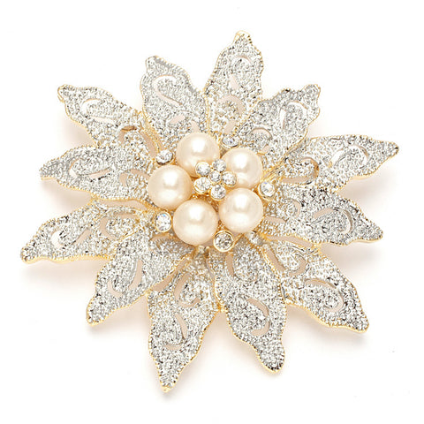 Two-Tone Etched Flower & Pearl Bridal Brooch