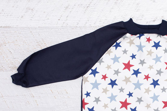 Blue Star & Navy toddler art smock with long sleeves
