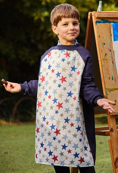 Young boy wearing Blue Stars Art Smock