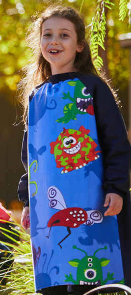 Kid wearing Navy Creepy Critters Paint Smock