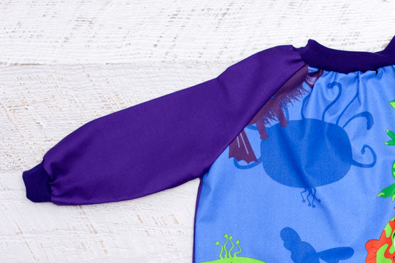 Purple Sleeves Creepy Critters Kids Smock
