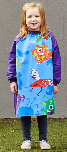 Girl wearing Creepy Critters kids craft smock