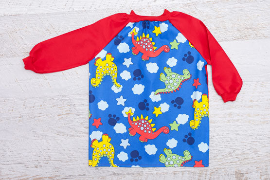 Kids Dinosaur art smock with red sleeves