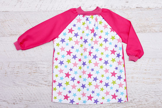 Pink Stars Kids Smock with Pink Long Sleeves